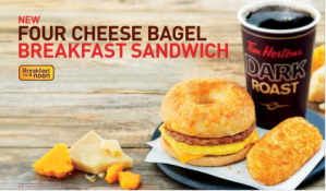 Tim Hortons new 4-Cheese Bagel Breakfast Sandwich. Topped with REAL Cheddar, Mozzarella, Parmesan and Asiago, it's just loaded with deliciousness.